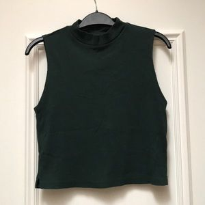 Topshop Green Sleeveless Croptop with High Neck